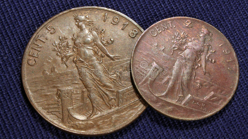 Italian cents vintage. Italian old 5 and 2 cents regno d'italia, italian kingdom stock images