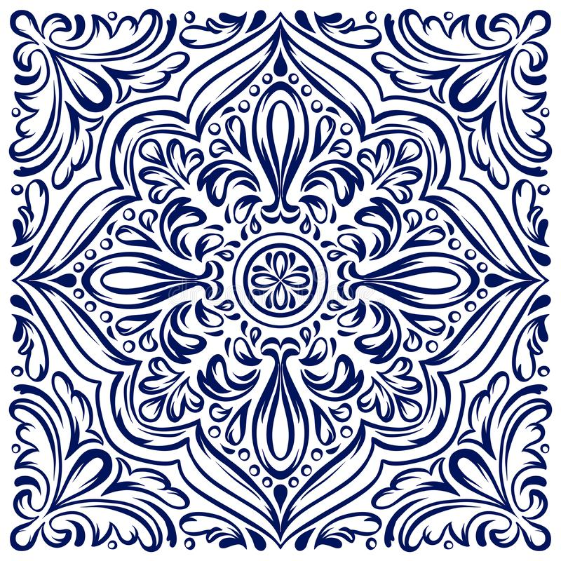 Italian ceramic tile pattern. Ethnic folk ornament. royalty free illustration