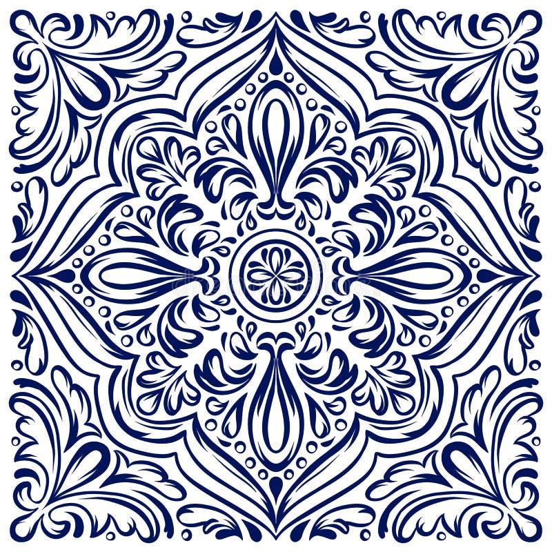 Italian ceramic tile pattern. Ethnic folk ornament. royalty free illustration