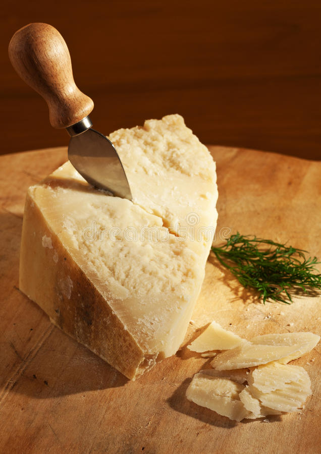 Italian cheese. A typical italian cheese with knife