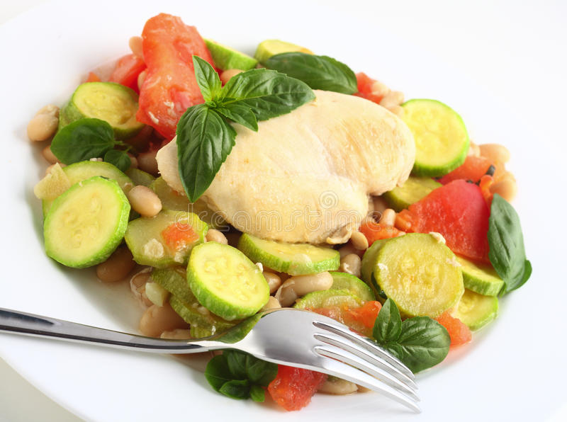 Italian chicken and vegetables side view royalty free stock images