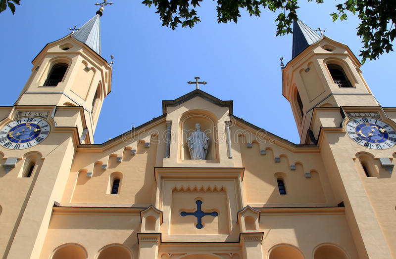 Italian church of the Assumption of Mary, Bruneck royalty free stock image