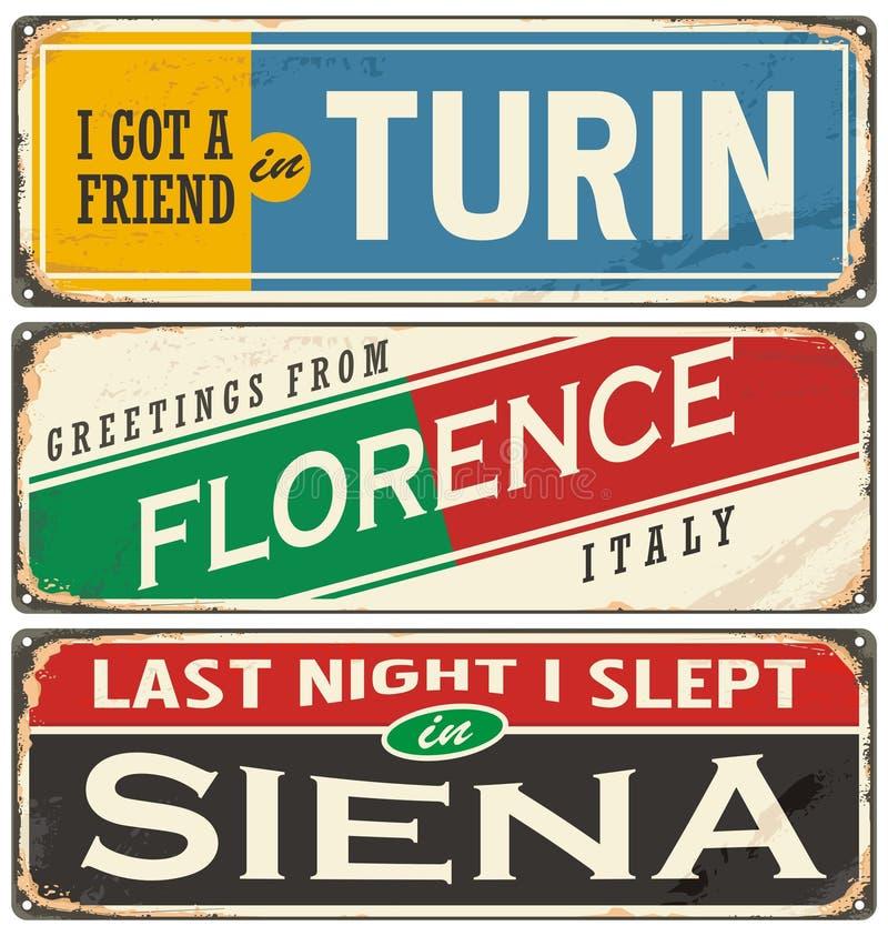 Italian cities and travel destinations vector illustration