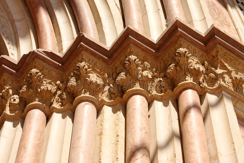 Italian city of Assisi, columns royalty free stock photo