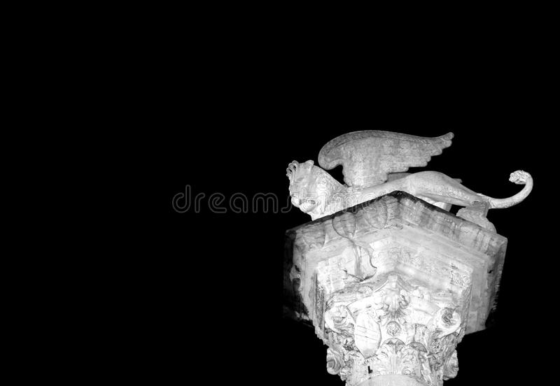 Italian city lights at night and the illuminated monuments stock photography