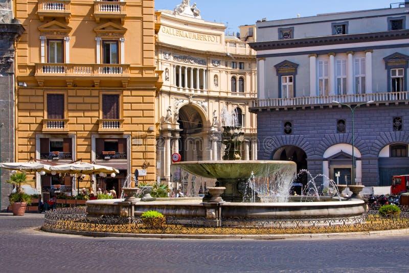 Italian city Naples, fountain stock photos