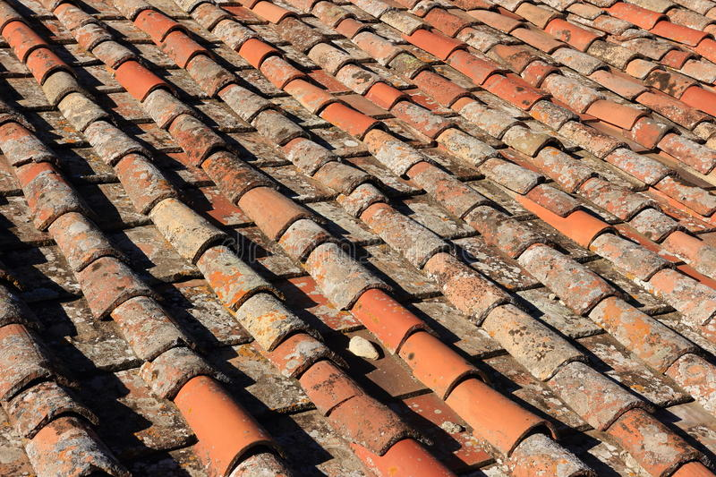 Italian Clay tiles. Red house stock photography