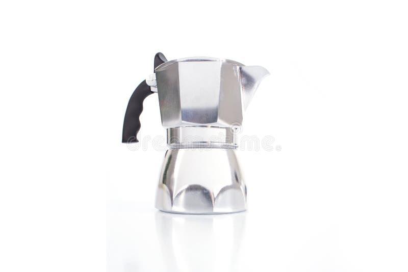 Italian coffee maker or moka pot isolated on white background.  royalty free stock photo