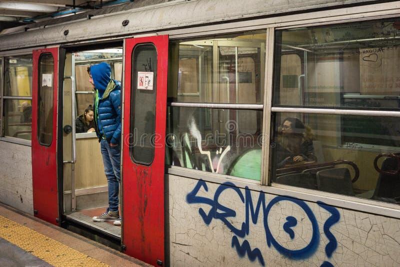 Italian commuter train car. stock photos
