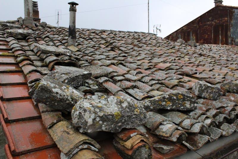 Tile roof Italian street in palestrina Italy lazio stock image