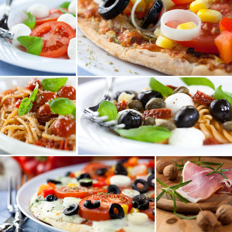 Italian Cuisine. Collage separated with a white line stock image