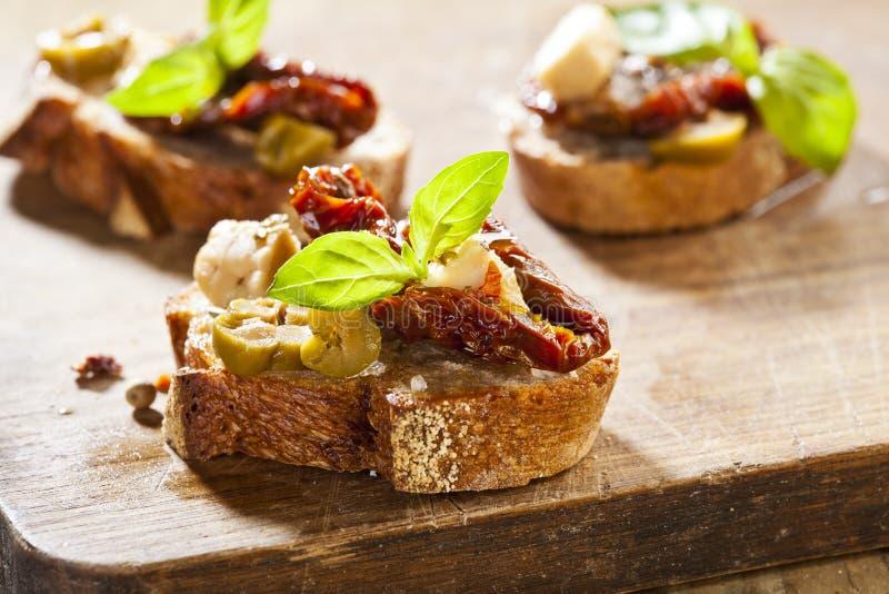 Italian appetizer bruschetta stock photos