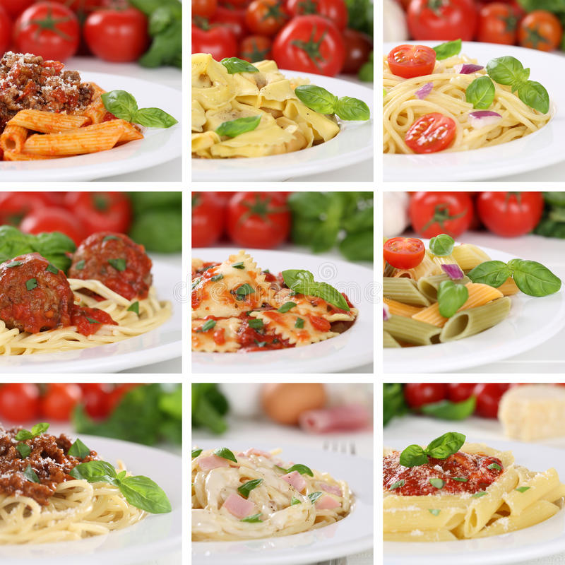 Italian cuisine collection of spaghetti pasta noodles food meals stock photography