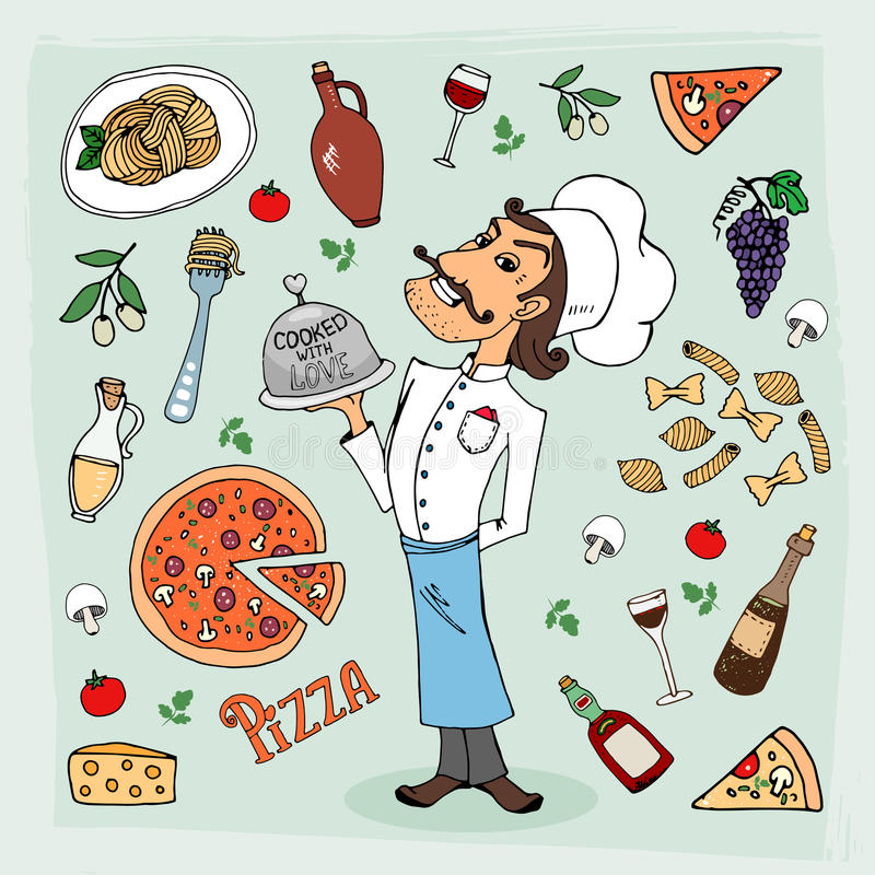 Italian cuisine and food hand-drawn illustration. With a handsome chef in a toque holding a food dome surrounded by icons depicting pasta spaghetti pizza wine royalty free illustration