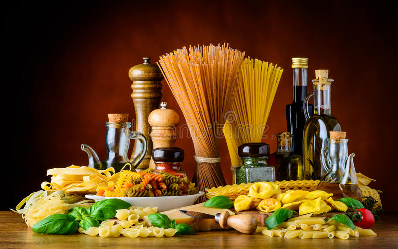Italian Cuisine Food with Pasta stock photos