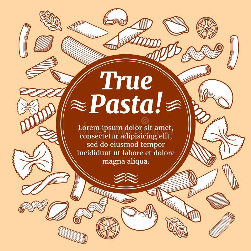 Italian cuisine food, restaurant flyer vector template. Banner true pasta, illustration of italian traditional pasta menu royalty free illustration