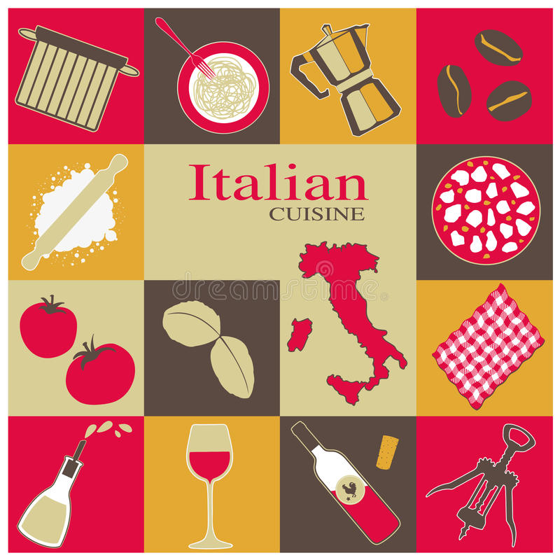 Download Italian Cuisine Icons Set stock vector. Image of recipes - 41900104