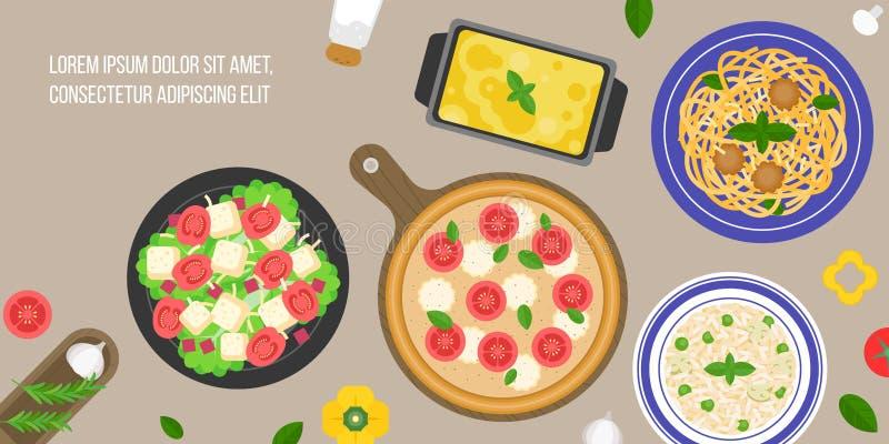 Italian cuisine. Caesar salad, margarita pizza, risotto rice, lasagna, bologna pasta, flat design vector in aerial view stock illustration