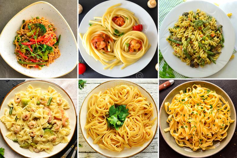 Italian Cuisine. Pasta Varieties of pasta and dishes. Food collage. Collage Pasta in the plate. top view. Italian Cuisine. Pasta Varieties of pasta and dishes royalty free stock image