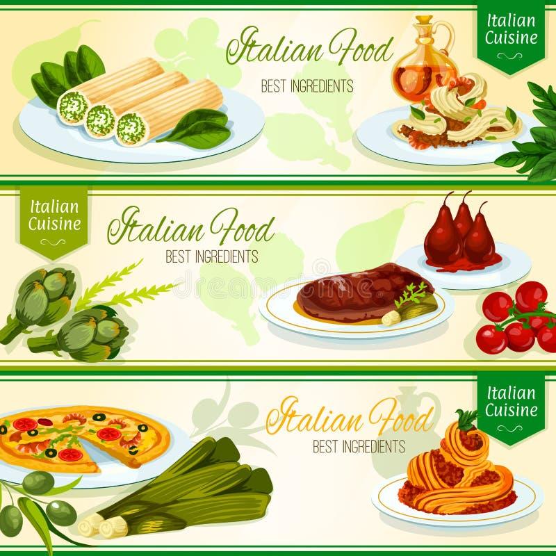 Italian cuisine restaurant menu banners design stock