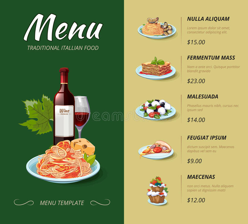 Italian cuisine restaurant menu vector design stock