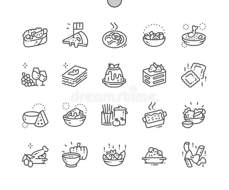 Italian cuisine Well-crafted Pixel Perfect Vector Thin Line Icons 30 2x Grid for Web Graphics and Apps. vector illustration
