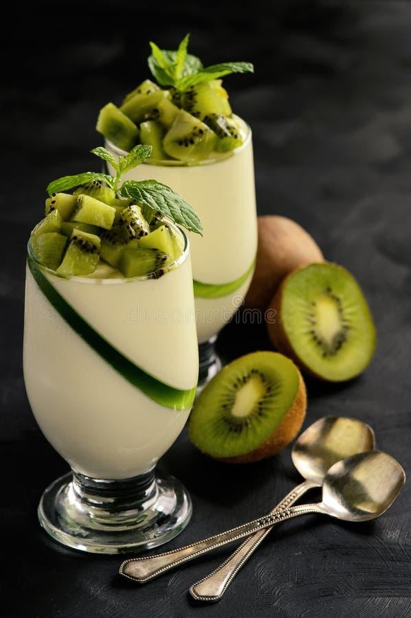 Italian dessert -pannacotta with kiwi fruit. stock photo