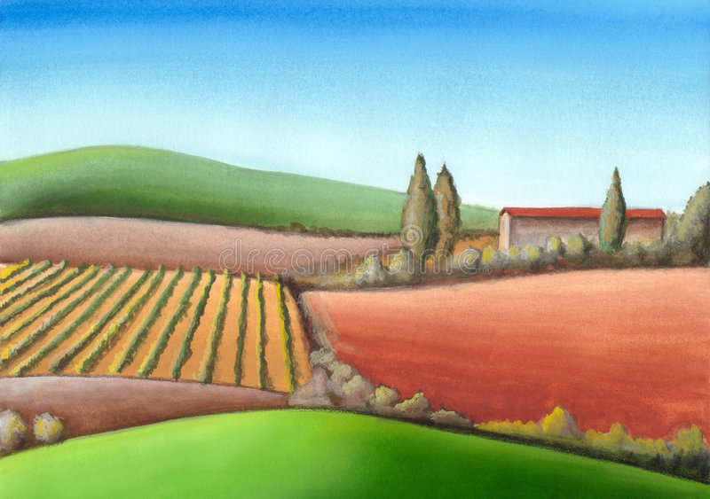 Italian farmland. Summer farmland in Tuscany, Italy. Hand painted illustration royalty free illustration