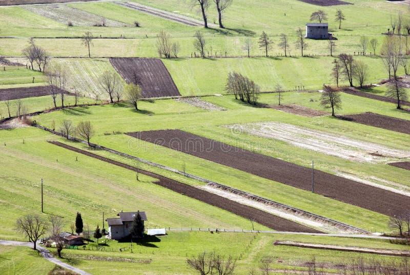 Italian fields. Aerial view of italian fields royalty free stock photography