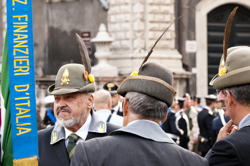 Italian financiers during the Italian Armed Forces Day. 4 November 2013 royalty free stock photography
