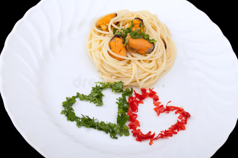 Italian First Course - Spaghetti And Mussels stock photos