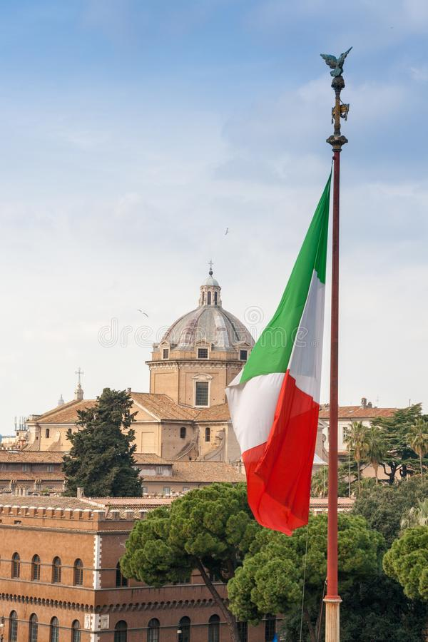 Italian flag in the center of Rome, Italy stock photo
