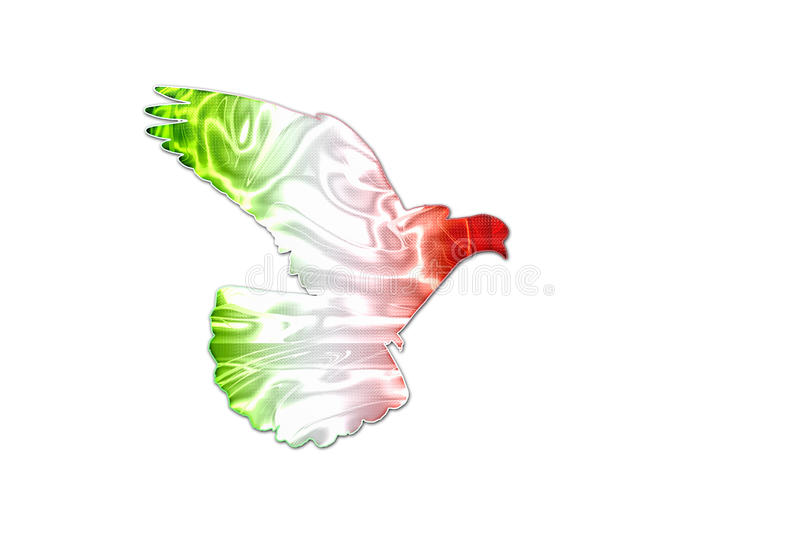 Italian Flag Colors On The Silhouette Of The Dove Stock Image
