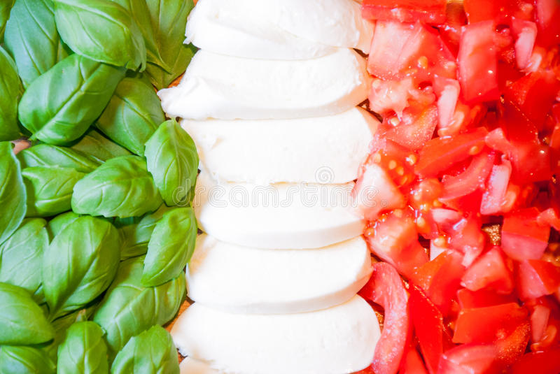 Italian flag from food. Italian flag made from food