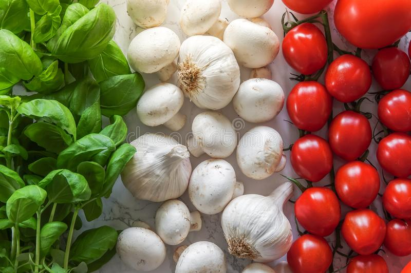 Italian flag made of ingredients for classic Italian food. royalty free stock image