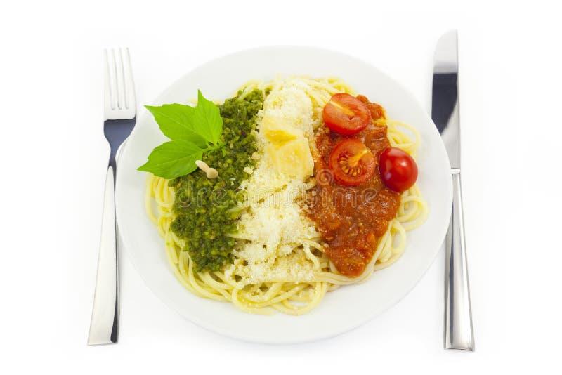 Italian Flag - Pasta With Green Pesto... Stock Image