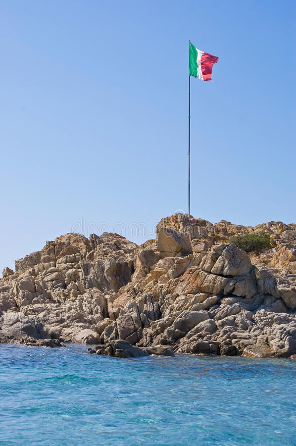 Italian flag on the rock royalty free stock images