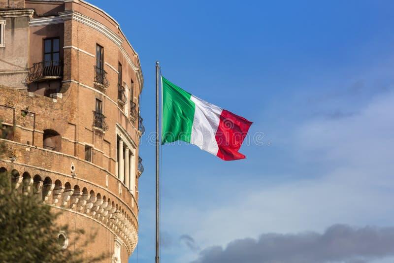 Italian flag on the Saint Angel Castle in Rome stock photo
