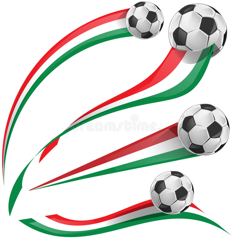 Italian flag set with soccer ball royalty free illustration