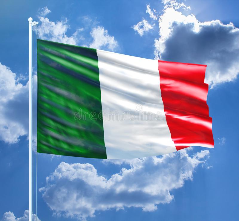 Italian Flag stock image. Close up of Italy`s Flag - Stock image, green, whire, red colours royalty free illustration