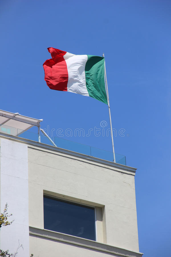 Italian Flag. In top of a building in Rio de Janeiro Downtown, in Brazil royalty free stock photo