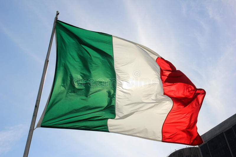 Italian Flag. In top of a building in Rio de Janeiro Downtown, in Brazil stock photography