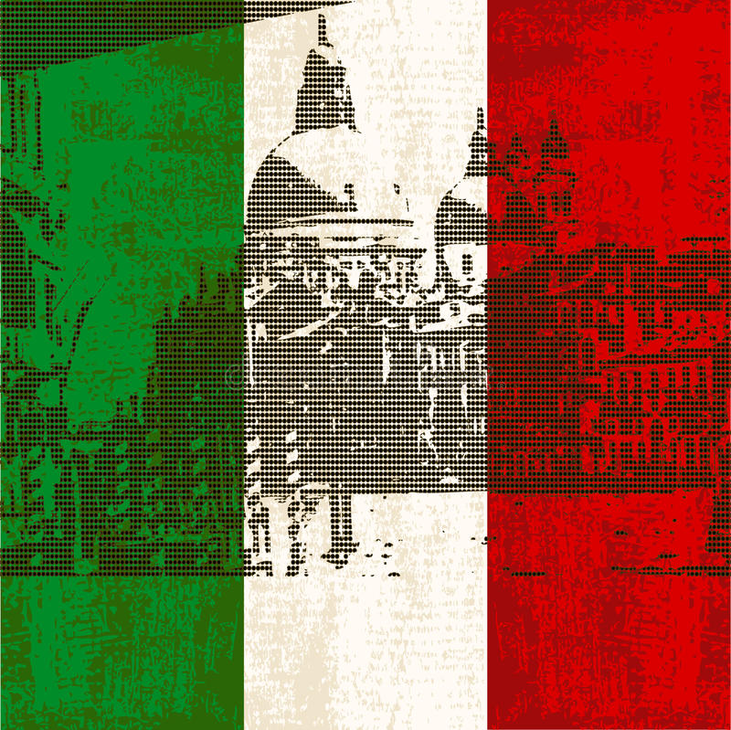 Italian Flag and Venice. Italian Flag with view of Grand Canal, Venice vector illustration