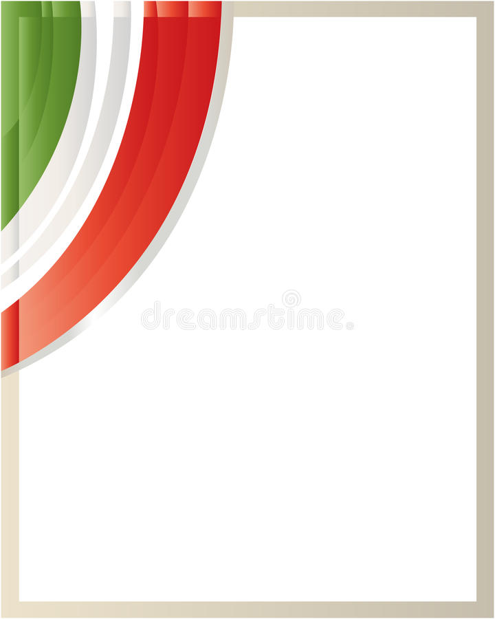 Italian flag wave border with blank space for text. stock illustration