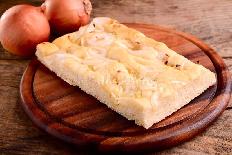 Italian focaccia with onions royalty free stock image