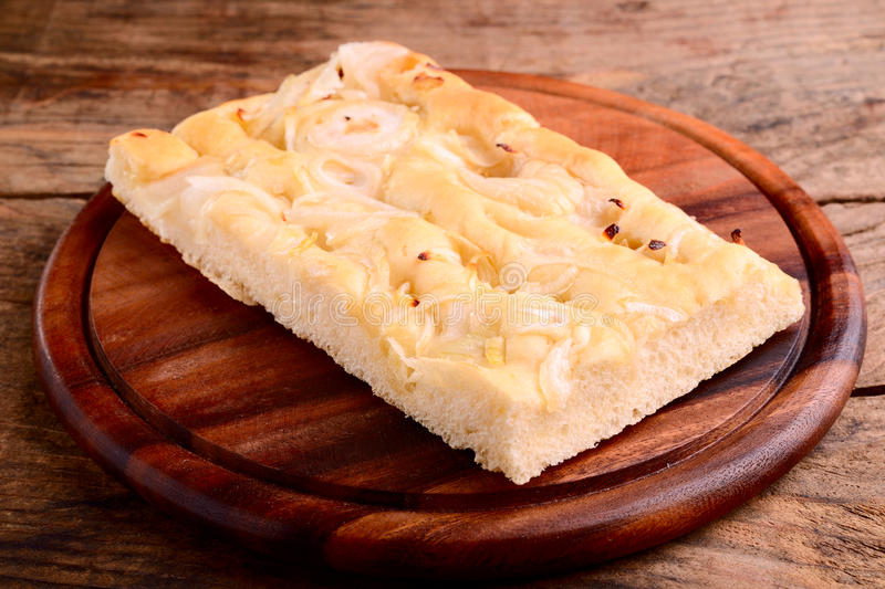 Italian focaccia with onions stock images