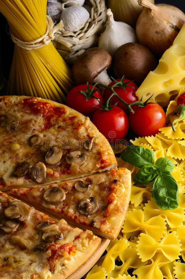 Italian food. Pizza pasta and ingredients