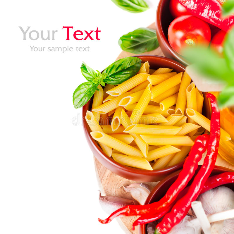 Italian food. Ingredients for cooking pasta (with space for text stock image