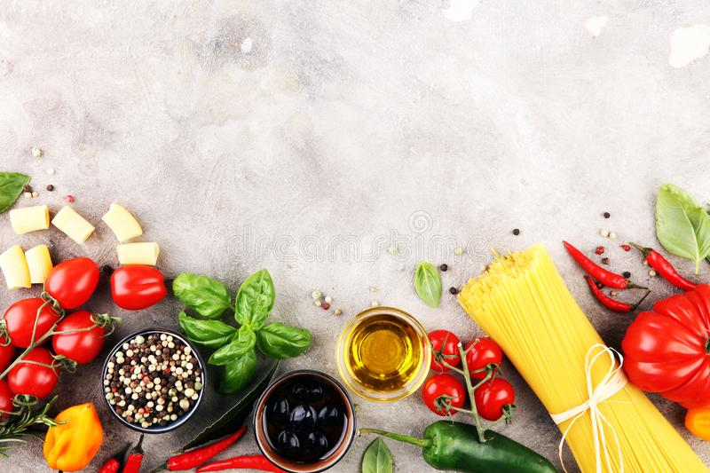 Italian food background with different types of pasta, health or. Vegetarian concept. Top view with copy space stock photos