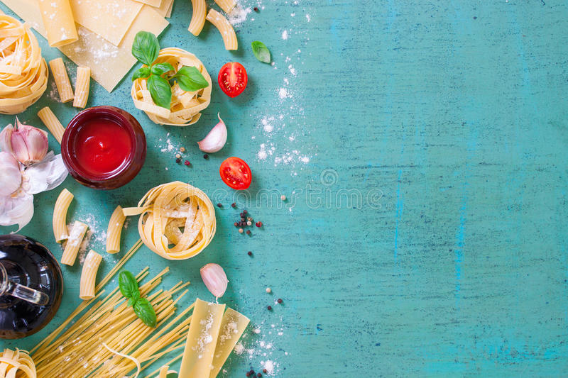 Italian food background with different types of pasta, health or vegetarian concept. Top view with copy space stock images